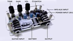 1Wamp is a one Watt small guitar amplifier based on a JFET guitar pre-amp, the Big Muff Pi tone control and the LM386 power amplifier. This portable amp is an open hardware project designed by ElectroSmash using only free and open-source tools. ...