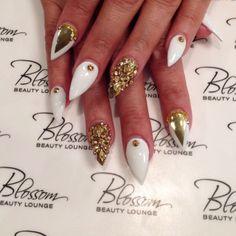 Gold & White Stiletto nails