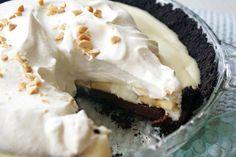 Chocolate, Peanut Butter & Banana Cream Pie #tasteamazing