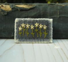 Yellow Daisies Hand Embroidered Floral Brooch Pin by Sidereal, $25.00