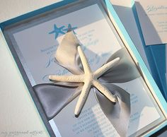 Beach Chic Starfish Boxed Wedding Invitations by My Personal Artist. MANY customizable options {fonts, ink colors, box colors, ribbons, etc.} <3