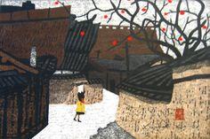 Village Scene with Persimmon Tree- Kiyoshi Saito   Scriptum Inc