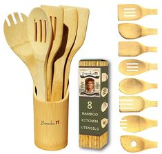 Ten Amazing Bamboo Kitchen Tools You Simply Must Have Cooking Utensils Set, Kitchen Utensils, Kitchen Tools, Kitchen Gadgets, Utensil Holder, Utensil Set, Wooden Fork, Spice Containers, Kitchen Rack