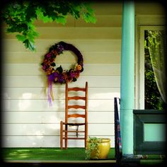 Cozy Porch Scene shabby chic vintage chair wreath by jemvistaprint, $25.00