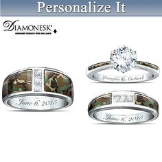 Camo His And Hers Personalized Wedding Ring Set