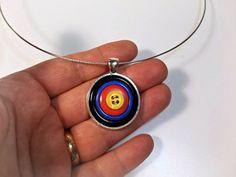 Archery target button necklace pendant->>. :