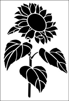 Sunflower stencil from The Stencil Library GARDEN ROOM range. Buy stencils online. Stencil code GR3.