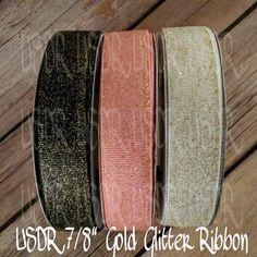 "USDR Valentine Sweet Tart collection 7/8"" grosgrain ribbon, Gold Glitter USDR, US Designer valentine ribbon, crafting supply, bow supply by JJsBowsTuTusAndMore on Etsy"