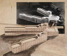 J.Stirling: fotomontaje del proyecto para los Dormitorios universitarios en St. Andrews (1964-68).