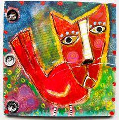 """BirdCat"" original folk art painting by Tracey Ann Finley..Bottle cap collage!"
