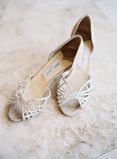 Sparkly Jimmy Choo bridal peep toes (Photo by Jessica Lorren Organic Photography)