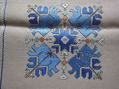 Vintage Hand-Embroidered Linen Table Runner with Beautiful Silk Blue Embroidery