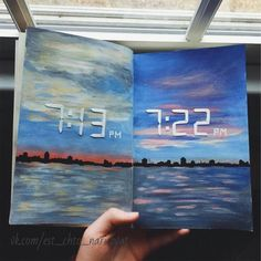 Daily Sketchbooks - gorgeous watercolor of water and sky with digital time stamps painted in the sky. Daily Sketchbooks - gorgeous watercolor of water and sky with digital time stamps painted in the sky. Art Inspo, Kunst Inspo, Kunstjournal Inspiration, Sketchbook Inspiration, Sketchbook Ideas, Sketchbook Layout, Sketchbook Cover, Travel Sketchbook, Creative Inspiration