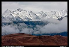 Snowy Sangre de Cristo Mountains and clouds above dune field. Great Sand Dunes National Park (color)