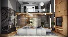 Exquisite loft style interior of the Moscow home