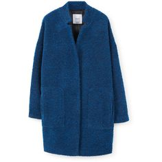 MANGO Bouclé Coat (3.365 RUB) ❤ liked on Polyvore featuring outerwear, coats, jackets, tops, long sleeve coat, boucle coats, mango coats, blue coat and fur-lined coats