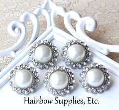Pearl Rhinestone Buttons Pearl with Diamond Stones Qty of 5 Acrylic Buttons 23 mm - Hairbow Supplies, Etc. via Etsy
