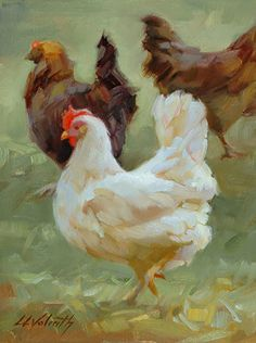Hen Party By Linda Volrath Farm Animal Art Hens - Hen Painting Rooster Painting, Rooster Art, Chicken Painting, Chicken Art, Animal Paintings, Animal Drawings, Farm Art, Chickens And Roosters, Wildlife Art