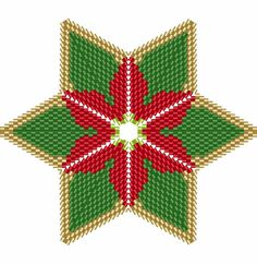 Christmas Poinsettia Star 1, Geometric Beading Pattern or Tutorial This is an intermediate to advanced pattern for those that know how to make a warped square and join them into a star. Perfect for your Christmas Tree Make your own beautiful piece of art from 11/0 delicas. This is a