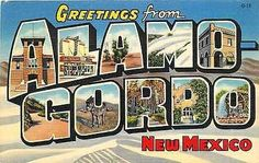 Large Letter Greetings from Alamogordo New Mexico NM 1938 Vintage Linen Postcard…