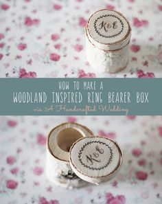 How to Make a Rustic Ring Bearer Box out of a birch branch, perfect for a woodland inspired wedding! FREE Wedding Design available to download. {ahandcraftedwedding.com}