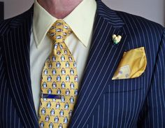 Coppley pinstripe suit - yellow accessories. theperfectgentleman.tv
