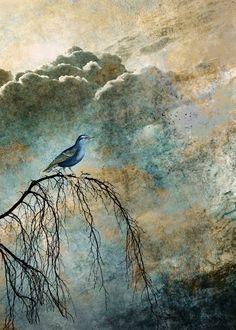Heavenly Bird II by Pia Schneider #ateliercolourvision. #artwork #kunst #artprints #kunstdrucke #ohmyprints #vogel #birds #himmel #heaven #illustration #homedecoration #giftidea #geschenkidee