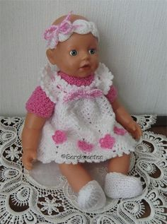Voorbeeldkaart - Wit rose setje voor kleine BabyBorn - Categorie: Haken - Hobbyjournaal uw hobby website