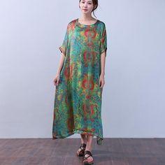 Printing Women Retro Silk Summer Loose Green Dress