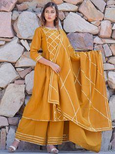 Cotton Kurta with Palazzo and Dupatta in Mustard Fancy Dress Design, Stylish Dress Designs, Designs For Dresses, Plain Kurti Designs, Silk Kurti Designs, Blouse Back Neck Designs, Churidar, Salwar Kameez, Indian Designer Outfits