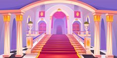 Castle staircase, upward stairs in palace entrance with pillars, statues, red rag and wooden doors, medieval architecture empty fantasy or historical building hall interior Cartoon vector illustration - Buy this stock vector and explore similar vectors at Background Drawing, Castle Background, Cartoon Background, Animation Background, Episode Interactive Backgrounds, Episode Backgrounds, Palace, Casa Anime, Castle Doors