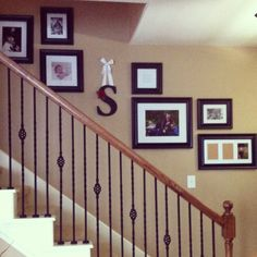 Michaels frames and initial copied from pinterest. Just add photos!  Paint color: sherwin Williams latte