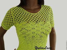 Купить или заказать Вязаное платье в интернет-магазине на Ярмарке Мастеров. Платье связано крючком из хлопка с вискозой. Длина 100 см. Короткий рукав. Возможно выполнение в другом цвете и любого размера. Для…