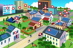 Buy Green Environment Friendly City Scene by artisticco on GraphicRiver. A vector illustration of city scene where the residents are very conscious about their environment and going green co. Solar Panel System, Solar Energy System, Solar Panels, Solar Power, Advantages Of Solar Energy, Green Environment, Shops, Home Improvement Loans, Cannabis Growing