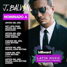J Balvin @jbalvin: AGRADECIDO CON LAS 7 NOMINACIONES nominaciones a Artista del Año; Artista Mascu