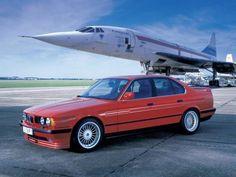 BMW 5 Series derived Alpina Biturbo - once the fastest production sedan in the world - with a Concorde prototype wallpaper/ background for iPad mini/ air/ 2 / pro/ laptop Lamborghini, Ferrari, Bugatti, Bmw E34, Bmw Alpina, Concorde, Ford Mustang, Carros Bmw, Bmw Autos