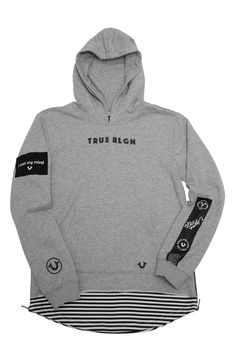 Main Image - True Religion Brand Jeans Dropped Hem Pullover Hoodie (Toddler Boys & Little Boys) True Religion, Toddler Jeans, Toddler Boys, Pullover Hoodie, Surf Wear, Mens Joggers, Hoodie Outfit, Polo T Shirts, Nordstrom