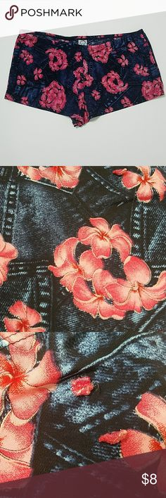 PJ Shorts Pre-loved. No stains or tears. 3rd pic shows where there used to be belt loops. Made to look like denim with pink flowers. Silky material. Intimates & Sleepwear Pajamas