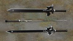 From the anime Sword Art Online Kirito's sword the Elucidator. Sword Art Online (c) Pictures Animation Studio, Sony Mu. Giant Scissors, Sword Art Online Cosplay, Kirito Sword, Cool Swords, My Fantasy World, Medieval Armor, Fantasy Weapons, Cool Tech, Geek Out