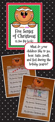 """Have your kids make this cute """"Five Senses of Christmas"""" flip book any time during the month of December! (Note: I have included a """"Five Senses of the Holidays"""" flip book as well so you can have a choice of which to use in your particular classroom.) This activity is great to get your children brainstorming all the different things that they like to taste, hear, smell, feel, and see during the Christmas season! Christmas Writing, Preschool Christmas, Kids Christmas, Christmas Crafts, Preschool Winter, Xmas, 5 Senses Activities, Christmas Activities, Writing Activities"""