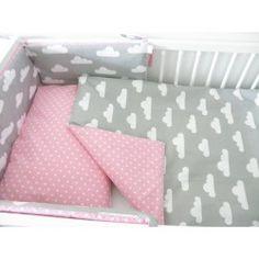 Ochraniacz do łóżeczka Szaro Różowy - chmurki kropki