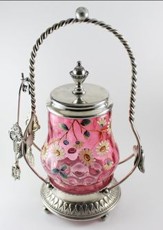 Wilcox Victorian silver plate pickle castor with cranberry glass embellished with hand painted enamel flowers. Cut Glass, Glass Art, Pickle Jars, Cranberry Glass, Pots, Rare Antique, Victorian Era, A Table, Pickles