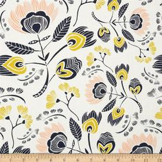 Art Gallery Tule Flora's Oasis Rosa from @fabricdotcom  Designed by Leah Duncan for Art Gallery Fabrics, this cotton print is perfect for quilting, apparel and home decor accents.  Colors include white, gold, peach and navy.  Art Gallery Fabric features 200 thread count of finely woven cotton.