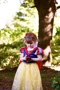 Fun photo of Snow White with her apple, great for thank you cards or the invitation.