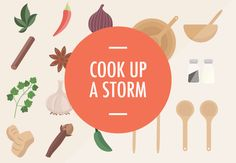 Cook Up A Storm by UltraViolets on Creative Market - All you need to cook up a storm! In here you can find vector illustrations of herbs and spices, cooking utensils etc. Everything is packed conveniently in one .ai file, and I've also included high-res png images for people who don't have illustrator.