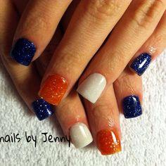 Bronco's Nails (Photo only) Baseball Nails, Football Nails, Fancy Nails, Cute Nails, Pretty Nails, Short Nail Designs, Cool Nail Designs, Chicago Bears Nails, Denver Broncos Nails