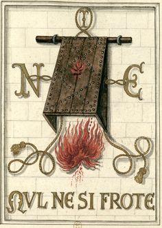 NUL NE SI FROTE -- Devise et emblème formé d'un corps de défense en volet d'où tombe une flamme rouge. A droite, à gauche et au faîte, les initiales N.I.E. liées par une cordelière. Au bas la devise : Nul ne si frote. D'après la médaille originale. Aquarelle. -- Devise et emblème d'Antoine, bâtard de Bourgogne, †1504 [BNF, Gaignières 1748].