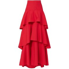 MDS Stripes Women's Tiered Skirt ($625) ❤ liked on Polyvore featuring skirts, red, floor length skirt, red skirt, cotton skirts, red cotton skirt and maxi skirt