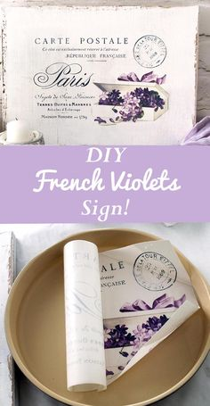 Learn how to paint, distress and use waterslide decal paper to make an amazing DIY Shabby French postcard sign with fancy violets for your home. By Diana Dreams Factory for The Graphics Fairy Tour Effel, Diy Wood Wall, Diy Blanket Ladder, How To Make Labels, Bath Bomb Recipes, Project Free, Graphics Fairy, Valentines Diy, Bunt
