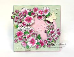 kartka z kwiatami / card with flowers Floral Wreath, Scrapbooking, Wreaths, Decor, Floral Crown, Decoration, Door Wreaths, Deco Mesh Wreaths, Scrapbooks